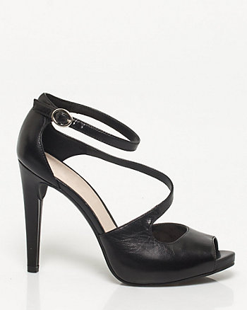 Leather Asymmetrical Strap Pump