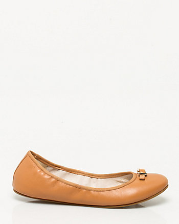 Leather Round Toe Ballerina