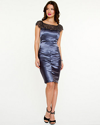 Sequin Satin Illusion Dress