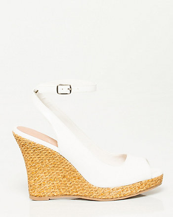 Leather-like Ankle Strap Wedge