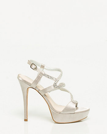 Satin Jewelled Platform Sandal