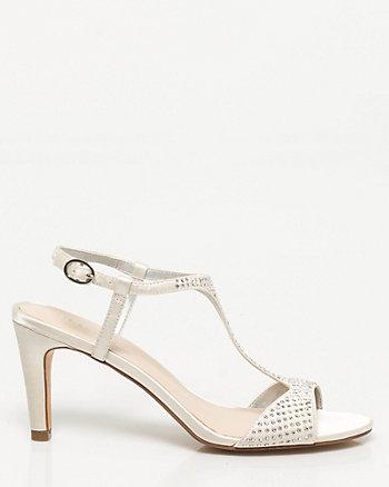 Satin & Rhinestone T-strap Sandal
