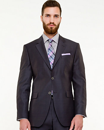 Tonal Pattern Notch Collar Blazer