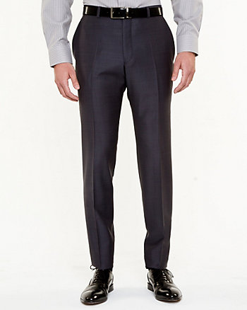 Tonal Wool Blend Straight Leg Pant