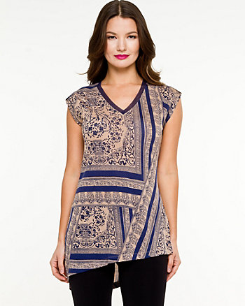 Knit Asymmetrical Scarf Print Top