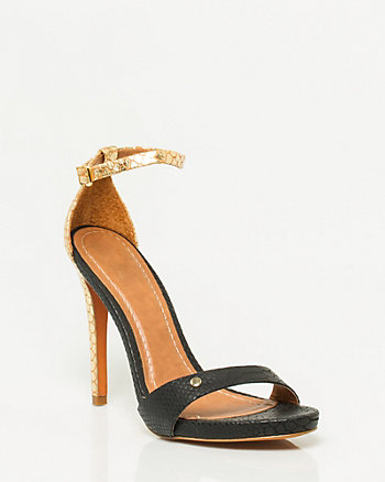 Embossed Leather Ankle Strap Sandal