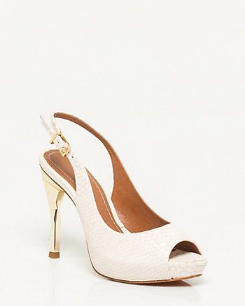 Brazilian-made Leather Peep Toe Slingback