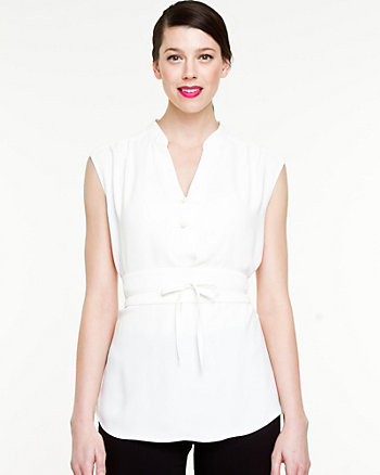 Matte Twill Mao Collar Blouse
