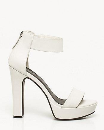 Leather-like Block Heel Sandal