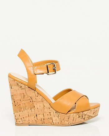 Leather-Like Cork Wedge Sandal