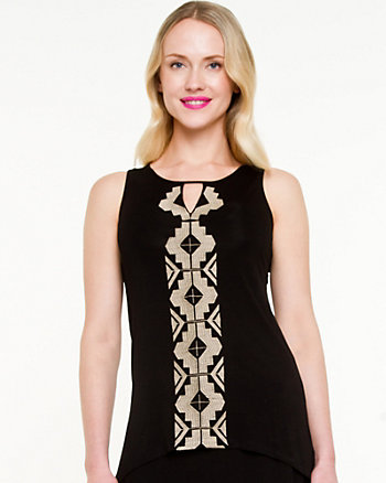 Embroidered Knit Sleeveless Top