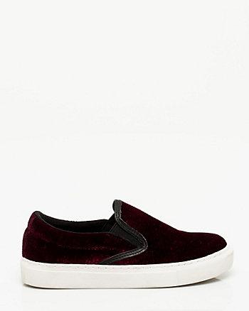 Velvet Round Toe Slip On Sneaker