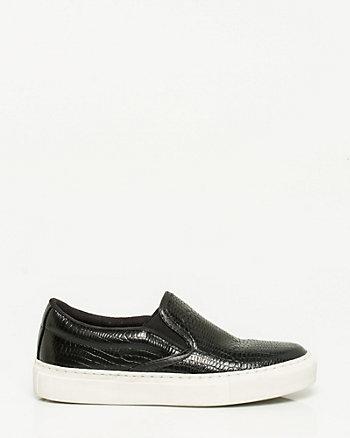 Embossed Leather Slip On Sneaker