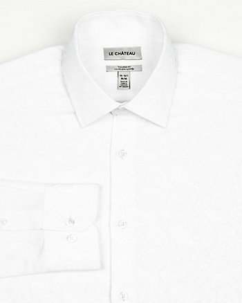 Tonal Cotton Blend Jacquard Shirt