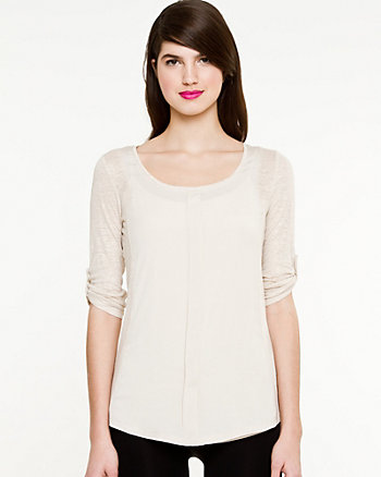 Foiled Linen Knit Top