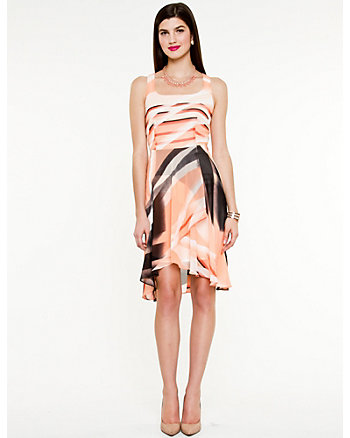 Abstract Print High-low Hem Dress