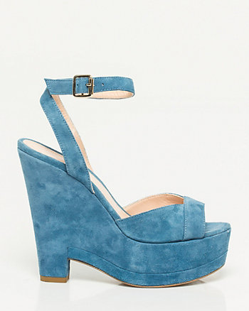 Italian-Made Suede Ankle Strap Wedge