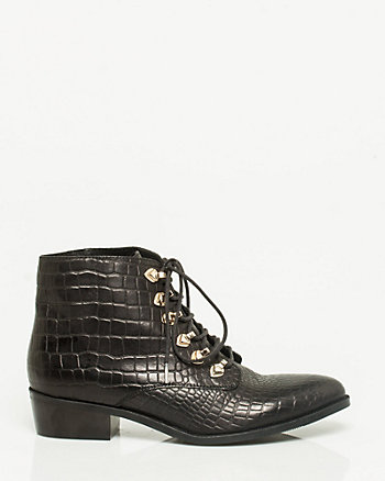 Embossed Leather Lace-up Bootie