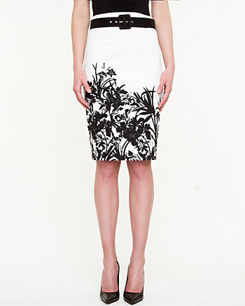 Floral Cotton Sateen Fitted Skirt