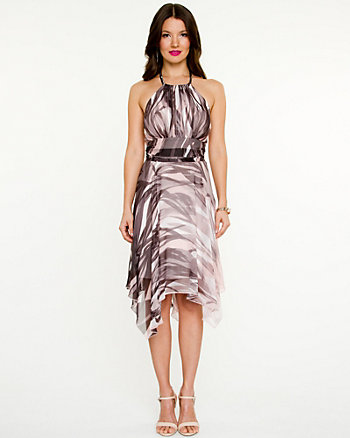 Chiffon Print Halter Dress