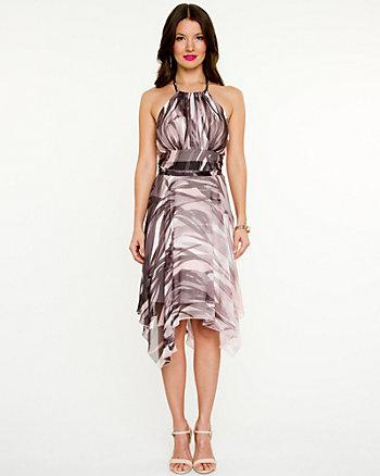 Chiffon Print Halter Dress