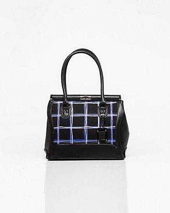 Leather-like Check Satchel