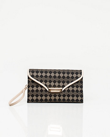 Leather-like Printed Clutch