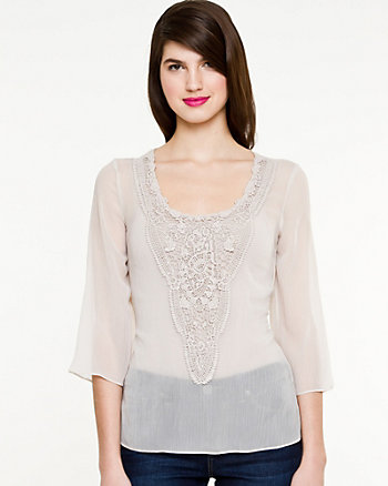 Chiffon Scoop Neck Peasant Blouse