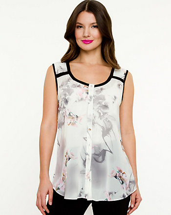 Chiffon Digital Print Sleeveless Blouse