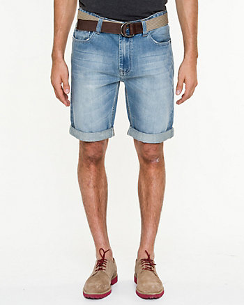 Belted Denim Cuffed Shorts