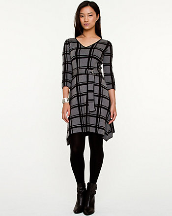 Silk & Cotton Check Print Sweater Dress
