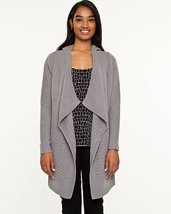 Knit Hooded Open-front Overpiece