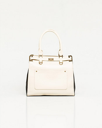 Leather-like Trapeze Tote