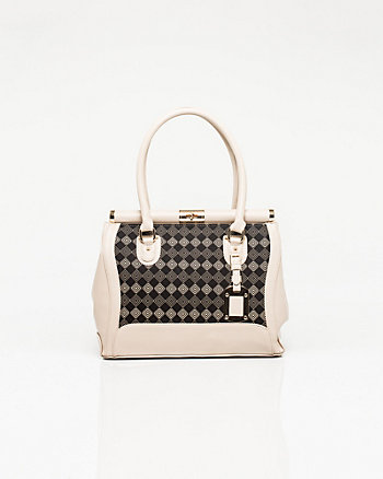 Leather-like & Canvas Printed Satchel