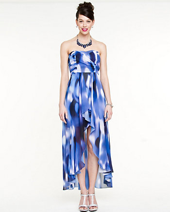 Printed Chiffon Sweetheart Dress