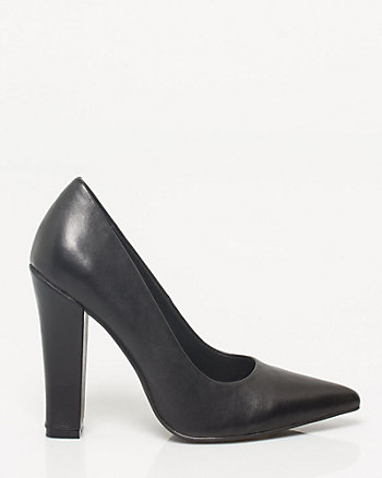 Leather Block-heel Pump