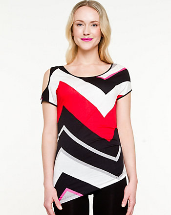 Viscose Stripe Scoop Neck Top