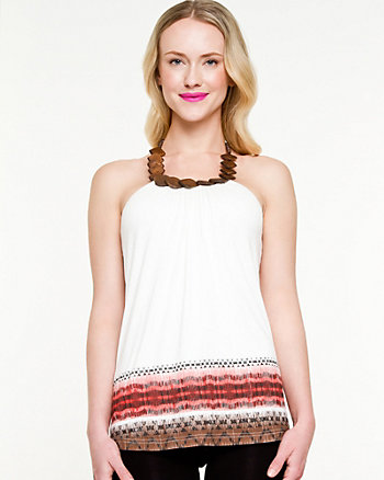 Knit Tribal Print Halter Top
