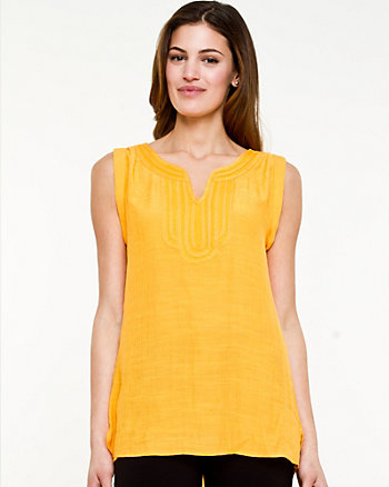 Mesh & Woven Sleeveless Top