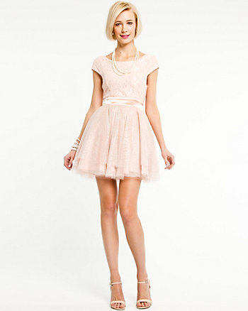 Lace Boat Neck Fit & Flare Dress