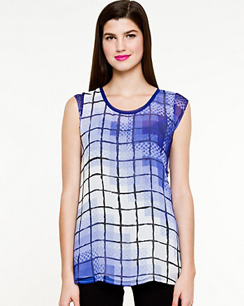 Brushstroke Grid Short Sleeve Top