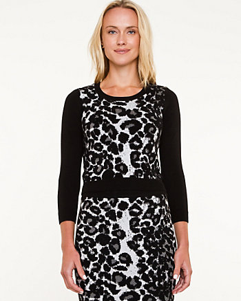 Leopard Print 3/4 Sleeve Sweater