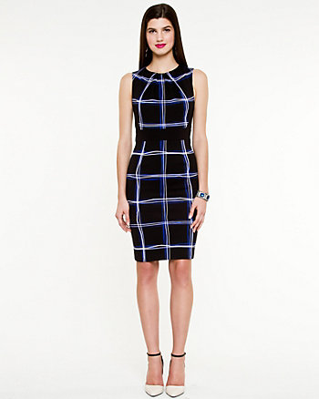 Grid Print Boat-neck Dress