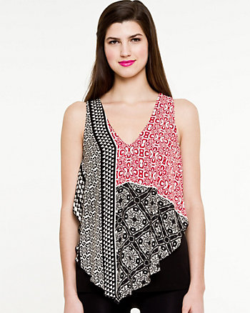 Printed Knit & Woven Sleeveless Top