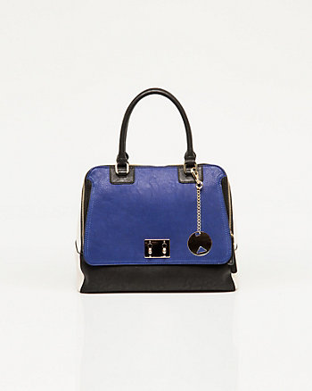 Leather-like Flapover Satchel Bag