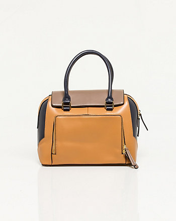 Leather-like Colour Block Tote Bag