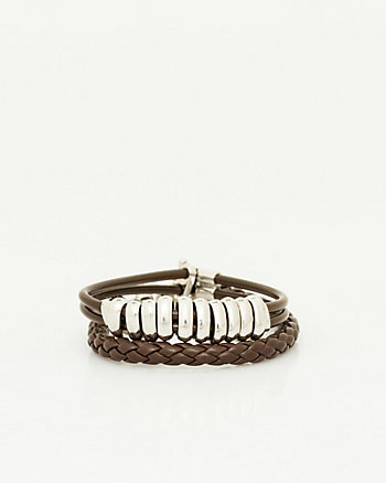 Set of Two Leather-Like Bracelets