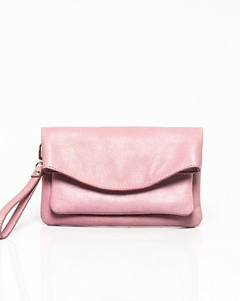 Leather Flapover Crossbody Bag