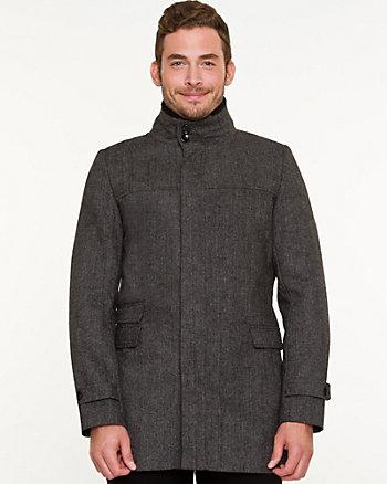 Textured Wool Blend Car Coat