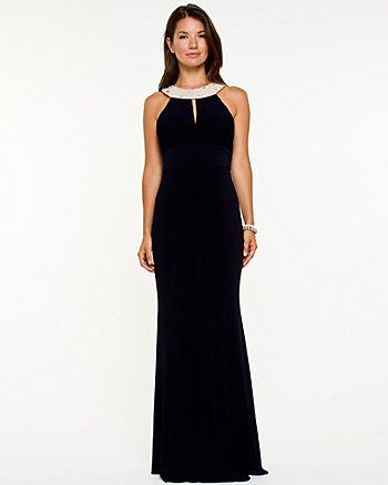 Gem Embellished Halter Gown